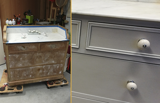 Commode Taupe et Blanc
